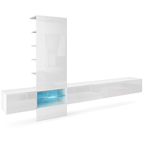 Vladon Wohnwand Anbauwand Manhattan V3, Korpus in Weiß matt/Fronten in Weiß Hochglanz, Paneel in Weiß Hochglanz mit LED Beleuchtung