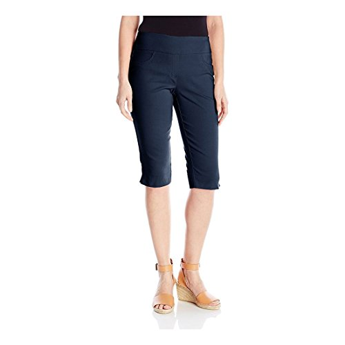 Ruby Rd. Women's Petite Pull-On Faux Fly Super Stretch Solar Millennium Tech Clamdigger, Navy, 22W