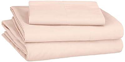 AmazonBasics Soft Microfiber Sheet Set with Elastic Pockets - Twin XL, Carnation Blush