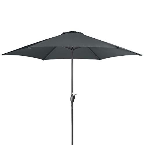 Doppler Derby Basic Lift NEO 300 cm - Großer, runder Sonnenschirm für den Garten - Mit Kurbel - Regenabweisend - ca. 300 cm - Anthrazit