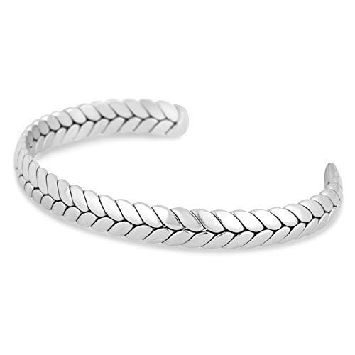 Akitsune Laurea Armreif | Lorbeerkranz Römisch Antik Armschmuck Frauen Herren Edelstahl Armband Cuff - Silber 57mm