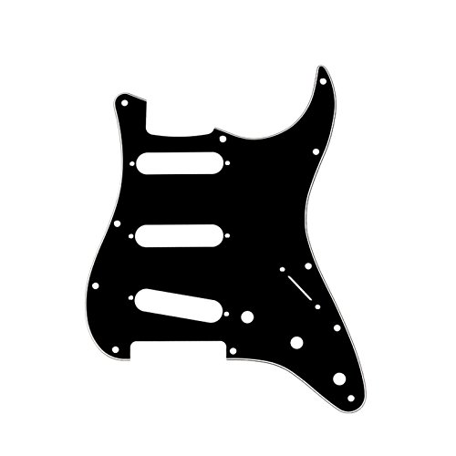 Musiclily SSS 11 Hole Strat Electric Guitar Pickguard for Fender USA/Mexican Made Standard Stratocaster Squier Modern Style Guitar Parts,3Ply Black