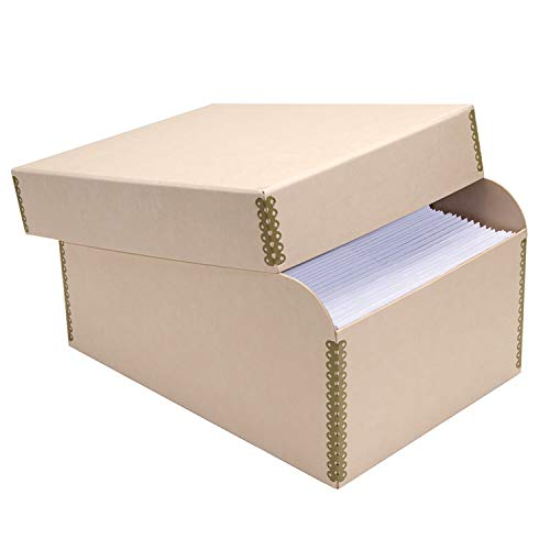 Lineco Natural Tan Photo File with 12 Acid-Free Envelopes, Holds Up to 1000 3.5' x 5', or 4' x 6' Photos for Protecting and Organzing Photos, Documents. Metal Edges, Acid and Lignin-Free.