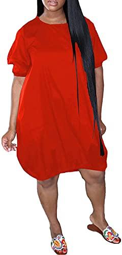 LYDIANZI Vestido para Mujeres Más Talla De Primavera Vestidos De Novia De Verano con Bolsillo para Mujer Switch Switch De Manga Corta Vestidos De Rodilla Media(Size:Grande,Color:Red-002)