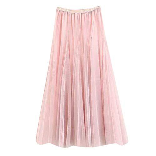 QinMMROPA Falda de Tul Plisada Elegante para Mujer, Falda Larga de Tutu de Fiesta Mujeres Falda de Cocktail...
