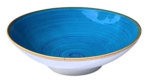 Bowl Cuenco Ensalada Porcelana, Tazón uso Multifuncional para servir sopa, pasta, cuencos de Ramen, estilo vintage, pintados a mano 700 ml (Azul)