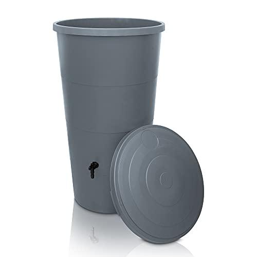 YourCasa Regentonne 160 / 200 Liter [inklusive Regensammler] Regenfass Frostsicher mit Fallrohr Anschluss Set - Regenwassertonne mit Wasserhahn - Regenwassertank Garten (Grau, 160L)