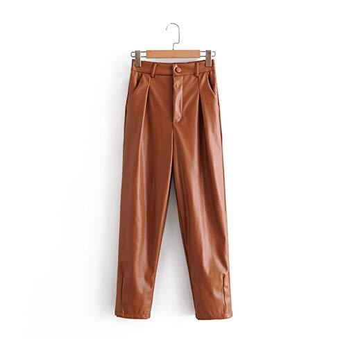CML 2020 Herbst Winter Frauen Hohe Taille Schwarz Faux Leder Hosen Dame PU Lose Bleistift Hose Elegante Tasche Streetwear (Color : Brown, Size : S)