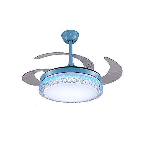 Luces de ventilador de sala de estar y dormitorio, luces de ventilador de techo con control remoto minimalista moderno creativo de 42 pulgadas (azul)