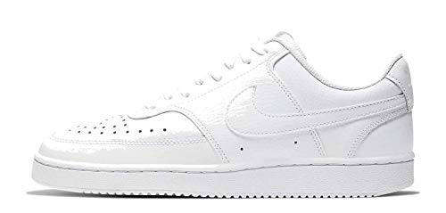 Nike Womens Court Vision Low Sneaker Basketball Shoe, White/White-White, 39 EU