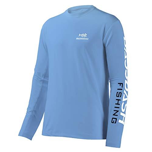 Bassdash T-Shirts de pêche pour Hommes Protection Solaire UV UPF 50+ T-Shirt à Manches Longues,Caroline/Logo Blanc,M