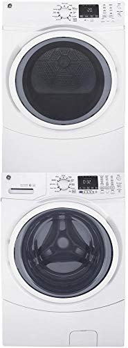 """GE Front Load Steam GFW450SSMWW 27"""""""" Washer with GFD45GSSMWW 27"""""""" Gas Dryer and GEFLSTACK Stacking Kit Laundry Pair in White"""