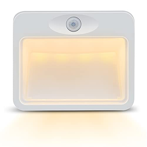 LAMIKO LED Motion Sensor Night Light Indoor Stick-Anywhere Wireless Battery Powered Garage Lights for Bathroom/Bedroom/Closet/Stair/Hallway/Cabinet/Kitchen/Entrance/Basement/Utility Room (Warm White)