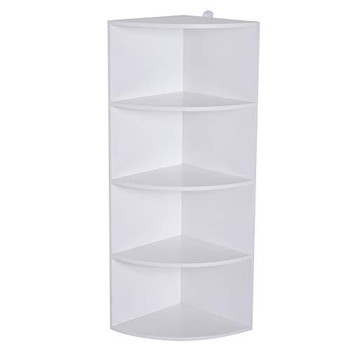 HOMCOM Corner Shelf 4 Tier Fan Bookshelf Plants Stand Wood Freestanding Unit White