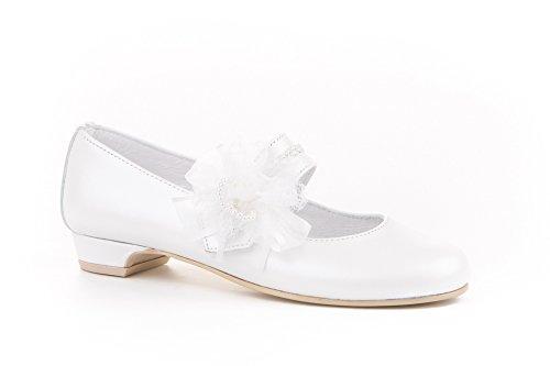 Zapatos de niña Fabricados en Piel para comunión con tacón. Calzado de niña Hecho a Mano - MiPequeña Modelo 997v Color Blanco.