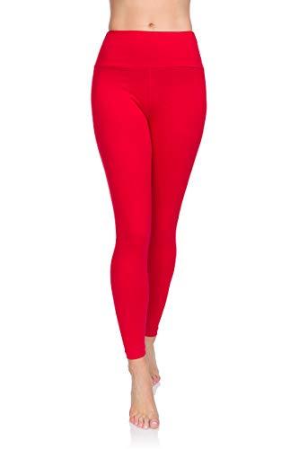 Soft Sail Damen Leggings, hohe Taille, Bauchkontrolle, weiche Baumwolle Gr. 48 EU/2XL, rot