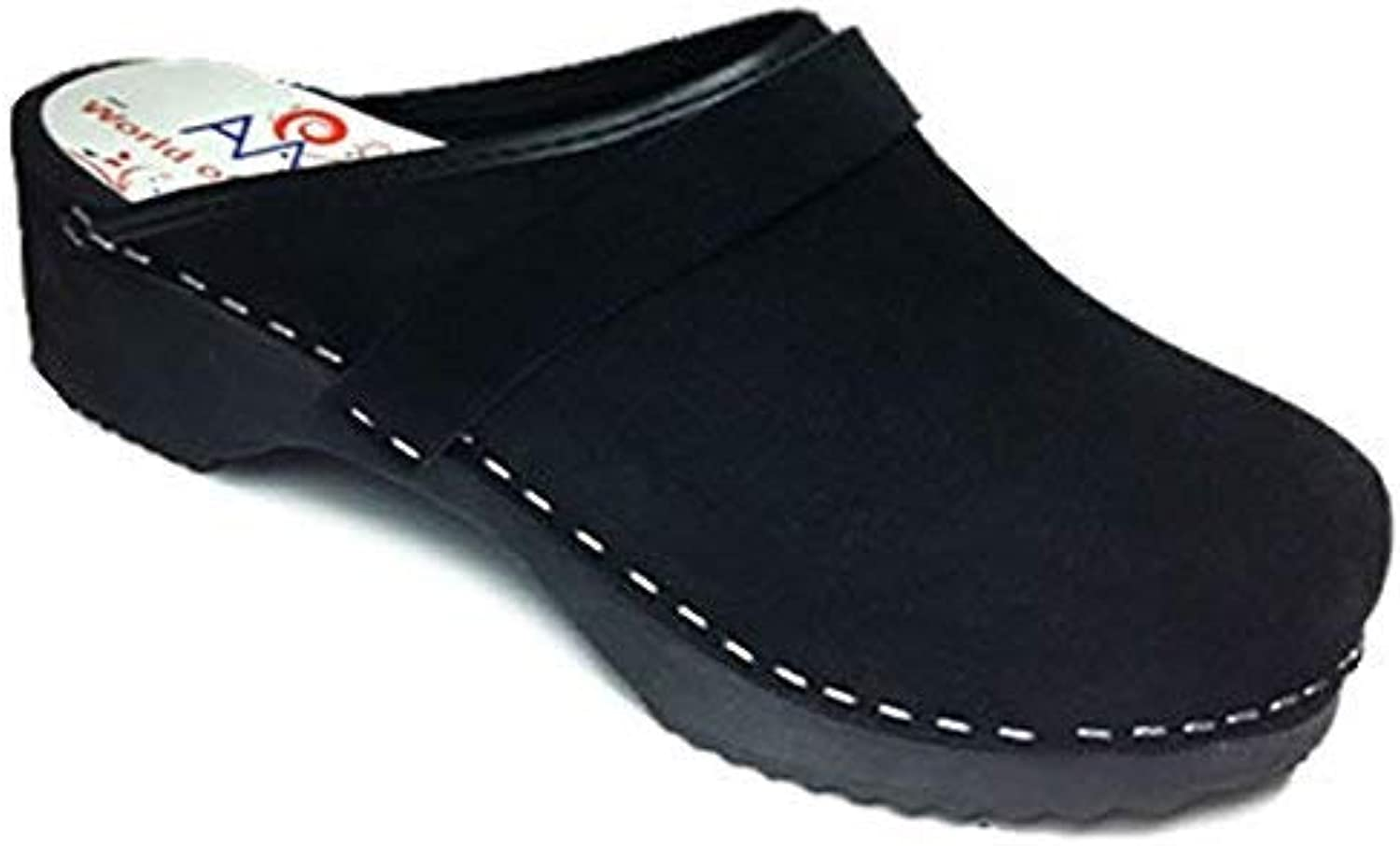 AM-Toffeln 100 Wooden and Black Suede Leather Clogs