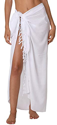 INGEAR Beach Long Batik Sarong Womens Swimsuit Wrap Cover Up Pareo with Coconut Shell Included (White)