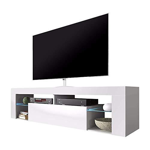 Selsey Bianko – TV Lowboard / TV Schrank, Weiß Matt / Weiß Hochglanz, mit LED-Beleuchtung, 140 x 35 x 50,5 cm