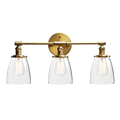 "Phansthy Industrial Wall Lamp with ON/Off Button, Triple Industrial Wall Sconce with Three 5.6"" Dome Clear Glass Canopy"