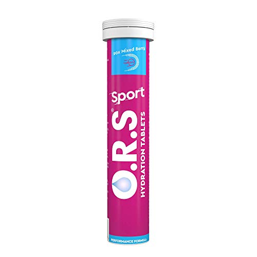 O.R.S Sport Hydration Tablets with Electrolytes, Magnesium and Vitamin D, Low Calorie Vegan Formula – Natural Mixed Berry Flavour, 20 Tablets