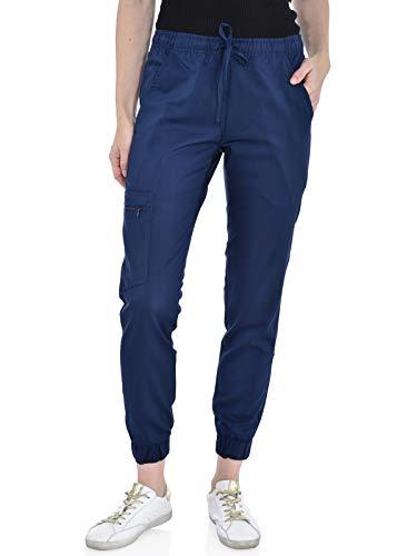 Marilyn Monroe Women's Stretch Slim Fit Jogger, 5 Pockets with Zipper Closure Side Pocket, Soft Medical Scrub Pants, Navy, L