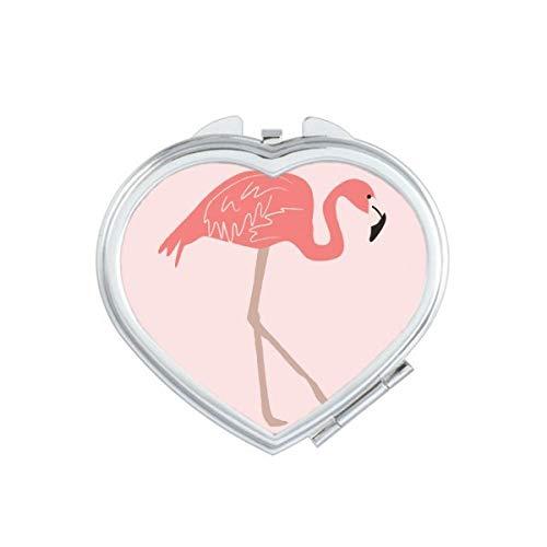 DIYthinker Marcher Motif Flamant Rose Coeur Miroir de Maquillage Compact Portable Cute Cadeau Miroirs de Poche à la Main Multicolore