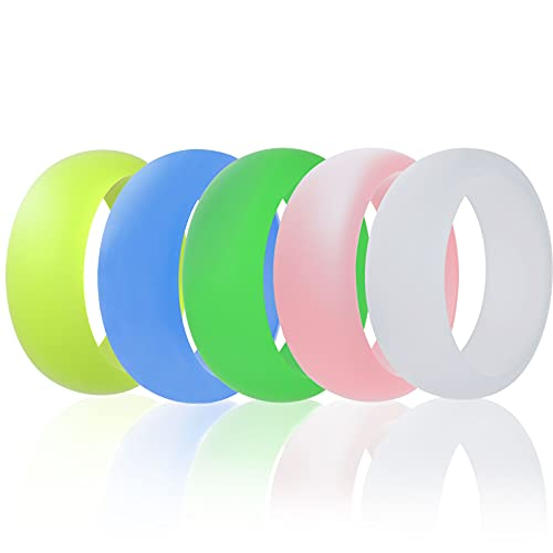Enpro Silicone Wedding Ring for Men&Women, Glowing in Dark Rubber Wedding Bands for Men and Women, Simple and Unique Design, Skin Safe.