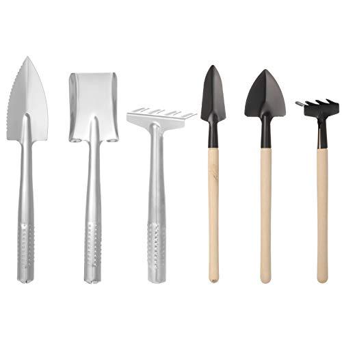 AUXSOUL 6 Stück Mini Garten Werkzeuge, kleine Handheld Schaufel Spaten Rechen Gartengeräte Garten Pflanze Werkzeug für Pflanze Topfblumen, Sämlinge