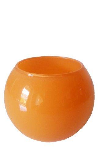 Oberstdorfer Glashütte Kugelvase farbige Glaskugelvase orange Blumenvase Durchmesser 25cm