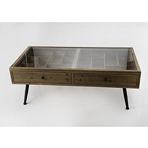 Amadeus Table Basse en Bois et métal 2 tiroirs Vitrine