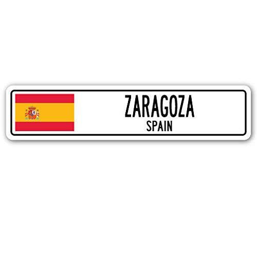 Inga Yard Street Signs - Señal de Zaragoza Spain con Bandera de España, Regalo de Pared: Amazon.es: Hogar