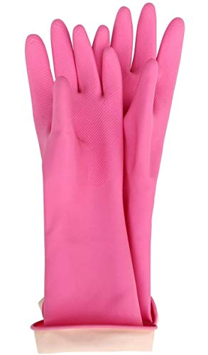 Kids Latex Household Natural Rubber Waterproof Work Playing Hand Protection Washing Cleaning Gardening Painting Gloves (Pink)
