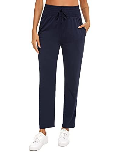 Irevial Pantalon Jogging Femme Pantalon Décontracté Femme Ample Pantalons Survêtement Femme Chic Pants Grande Taille avec Poches Taille Elastique Long Casual Bleu Marine, XXL