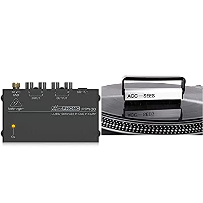 Behringer PP400 Microphono Ultra Compact Phono Preamp & Acc-Sees Pro Vinyl Carbon Fibre Vinyl Cleaning Brush - gently remove dust from vinyl records without damaging the delicate surface