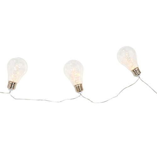 Butlers Bulb Lights LED Lichterkette, 2,25 m - Batteriebetriebene Leuchte mit 10 Birnen - Transparente Glühbirnen