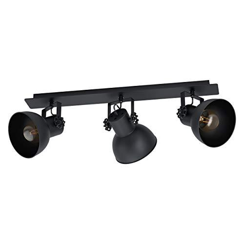 EGLO Deckenlampe Barnstaple 1, 3 flammige Deckenleuchte Vintage, Industrial, Retro, Deckenstrahler aus Stahl, Wohnzimmerlampe in Schwarz, Küchenlampe, Spots mit E27 Fassung
