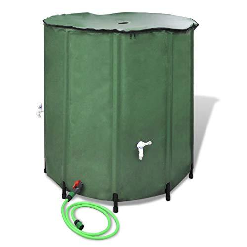 TEWTX7 Regentonne Regenwassertank Wassertank Regenwasserfass Zisterne Tank aus PVC in Grün. 3/4 inch PP Auslaufhahn,EIN Gartenschlauch ist enthalten und Deckel,100 x 100 cm (H x Φ) 750L