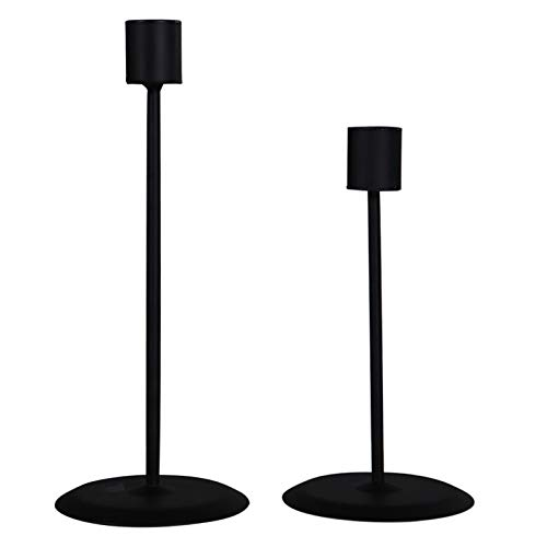STKYGOOD Candle Holders for Candlesticks Christmas 2 PCS Candle Holders for Pillar Candles Candle Holders for Long Candles for Living Room/Dinning Room Table Decoration (Black)