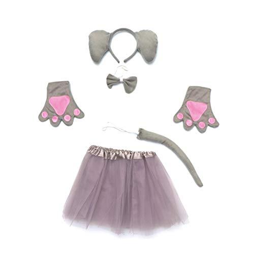 Toyvian 5 stücke mädchen Tier Cosplay kostüm elefantenohren Stirnband Krawatten Handschuhe Schwanz Tutu Rock für Halloween Party Kinder Cosplay gefälligkeiten