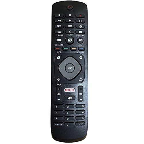 Reemplazo Control Remoto para Philips 996596001555 YKF406-001 - No se Requiere configuración Control Remoto Compatible para Philips LCD LED 3D HD TV Inteligente con Botón de Netflix