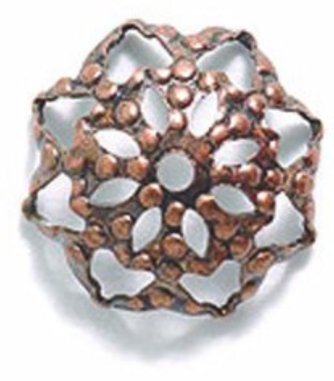 Shipwreck Beads Electroplated Brass Filigree Bead Cap, 10mm, Metallic, Antique Copper, 25-Piece