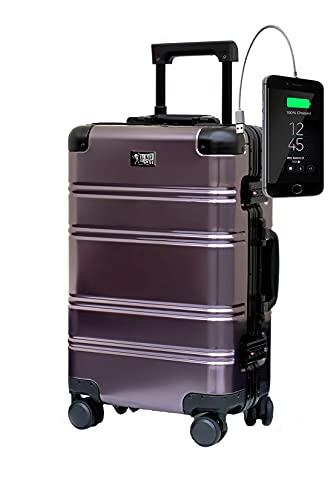 Bagaglio in Alluminio Valigie Cabina Trolley Valigia a Mano Rigida 55x35x20 cm BLACK LOGO (Creato per posizionare un caricatore per cellulari) TOKYOTO LUGGAGE (SUBURRA, VALIGIA E CARICATORE)