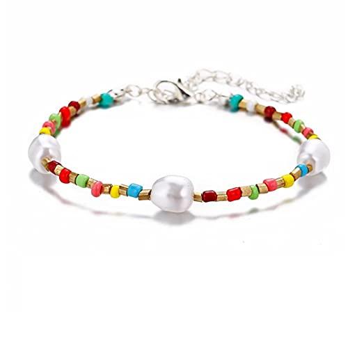 HETHYAN Pulsera de tobillo de moda con cuentas de cristal para mujer, pulsera de cadena bohemia, joyería de pie de playa (color metálico: estilo F)