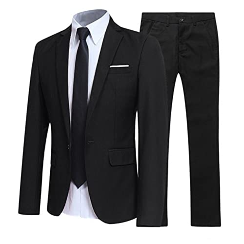 LEPSJGC メンズスーツフォーマルセットファッションスリムフィットラペルスタイリッシュボタンポケットブレザーウェディングメンズスーツ (Color : Black, Size : M code)