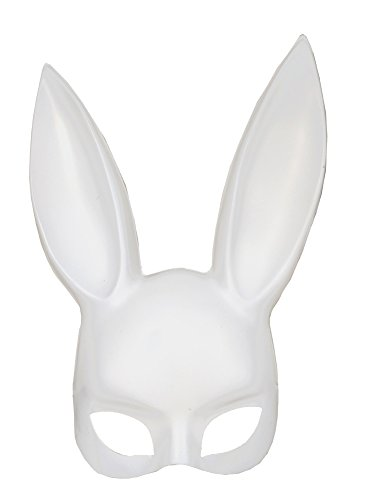 Adult Deluxe Sexy Bunny Half Mask White