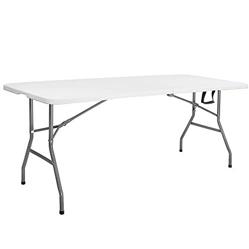 SPRINGOS Tavolo pieghevole da giardino, per gastronomia, con maniglia per il trasporto, in plastica, per interni ed esterni (bianco)