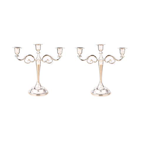Verve Jelly Kerzenständer 3-armig Metall Kandelaber Kerzenhalter Silber Europäische Elegante Kerzenhalter Kerzenständer für Hochzeit Esstisch Weihnachtsfeier Home Decoration