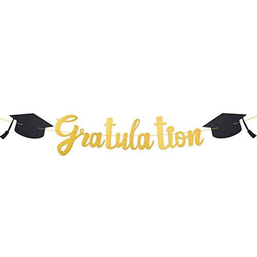 VINFUTUR Gratulation Banner Girlande Prüfung Bestanden Hängende Deko mit Graduation Hut Gold Graduierung Wimpelkette Bunt Flag Abschlussfeier Graduation Party Deko