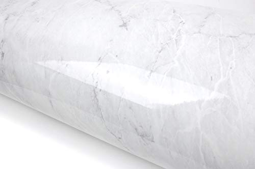 Granite Look Marble Effect Interior Film Vinyl Self Adhesive Peel-Stick Counter Top [Grey Marble(9.8ft)]